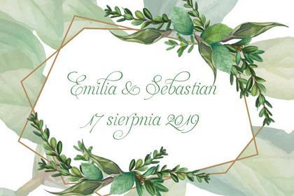 fotobudka na weselu emili i sebastiana, wydruk w zielone liście