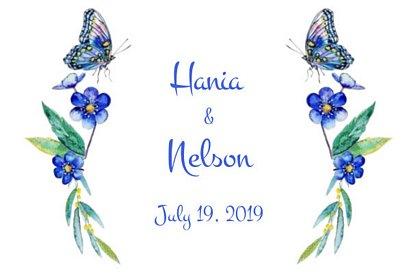 fotobudka na weselu Hani i Nelsona, grafika z szablonu wydruku